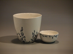 "'Wheat"" -Large Vessel and Small Bowl"